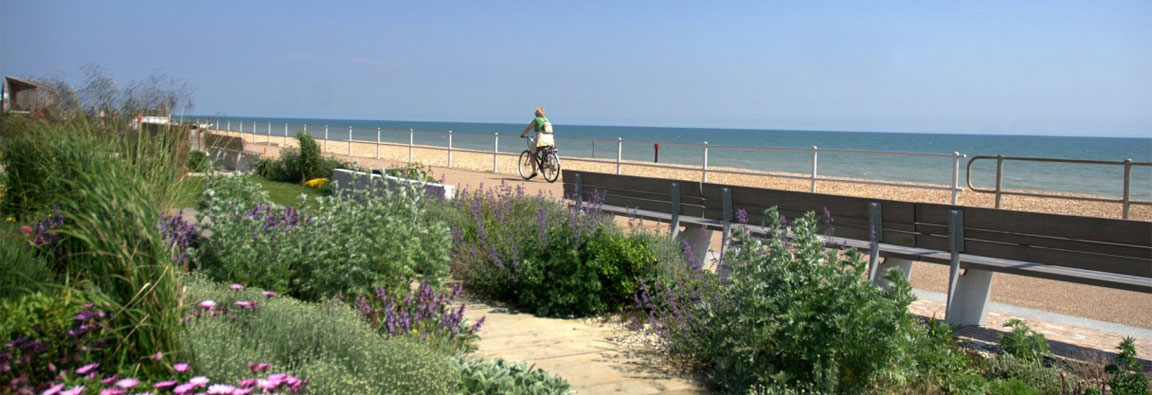 Cycling on the promenade